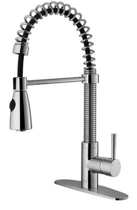 Vigo VG02003K1 Single Handle Pullout Spray Kitchen Faucet with Deck Plate: