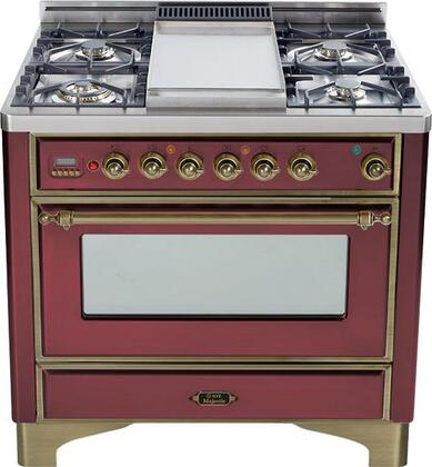 """Ilve UM90MPRBY 36"""" Majestic Series Dual Fuel Freestanding Range with Sealed Burner Cooktop, 2.8 cu. ft. Primary Oven Capacity, Warming in Burgundy"""