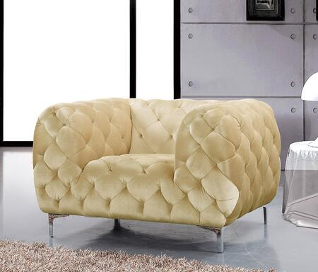 """Meridian Mercer 646-C 46"""" Chair with Top Quality Velvet Upholstery, Tufting Detailing and Tuxedo Arms in"""