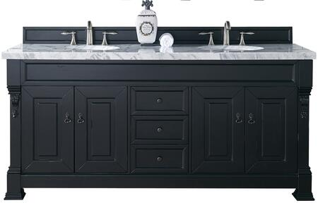 "James Martin Brookfield Collection 147-114-5731- 72"" Antique Black Double Vanity with Four Soft Closing Doors, Three Soft Closing Drawers, Backsplash, Hand Carved Filigrees and"