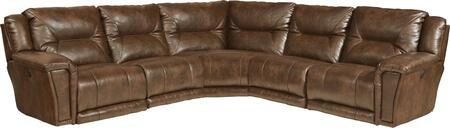"""Catnapper Montgomery Collection 1756-4-8-4-7- 127"""" 5-Piece Sectional with Left Arm Facing Recliner, 2x Armless Chairs, Corner Wedge and Right Arm Facing Recliner in"""