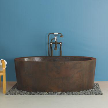 """Native Trails CPS80 Aspen Bathtub with 2"""" Drain Opening, Recycled Copper, Double walled Bathtub and Finished in"""