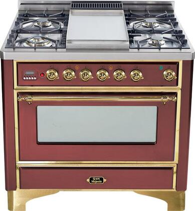 Ilve UM906VGGRBS Majestic Series Gas Freestanding Range with Sealed Burner Cooktop, 3.55 cu. ft. Primary Oven Capacity, Warming in Burgundy Red
