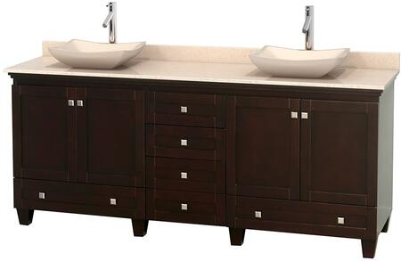 "Wyndham Collection Acclaim 80"" Double Bathroom Vanity with 4 Doors, 6 Drawers, 3"" Backsplash, Brushed Chrome Hardware, Ivory Marble Top and Avalon Ivory Marble Sinks in"