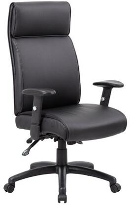 """Boss B710 46"""" Multi-Function High Back Executive Chair with 3 Paddle Multi-Function Tilting Mechanism, Adjustable Height Armrests, Ratchet Back Adjustment, Gas Lift Seat Height Adjustment and Tilt Tension Control in Black"""