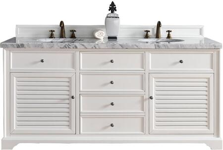 "James Martin Savannah Collection 238-104-V72-CWH- 72"" Cottage White Double Vanity with Two Soft Closing Doors, Three Soft Closing Drawers, Antique Pewter Hardware and"