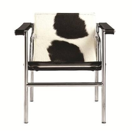 Fine Mod Imports FMI1141BLACK String Series Armchair Pony Hide Seamless tubular steel Frame Accent Chair
