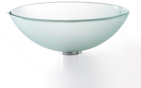 "Kraus GV10FR Singletone Series 17"" Round Vessel Sink with Tempered Glass Construction and Easy-to-Clean Polished Surface"