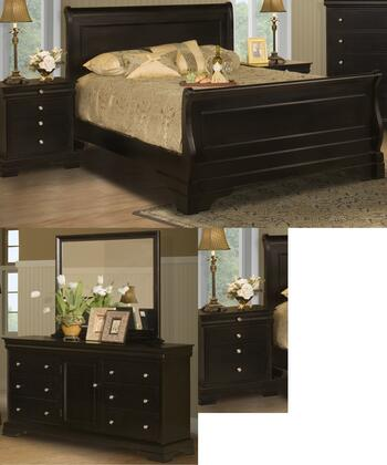 Picture of 00013ESBDMNN Belle Rose 5 Piece Bed Room Set with Eastern King Sleigh Bed  Dresser  Mirror  and Two Nightstands  in Black