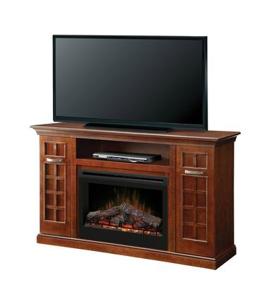 Dimplex GDS33-1304 Yardley Fireplace Media Console, with Realistic Flame Technology, Optional Heat Emission, Cool Glass Front, and Remote Control, in Chestnut