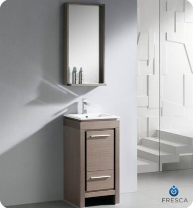 "Fresca Allier Collection FVN8118 16"" Modern Bathroom Vanity with Mirror, Soft Closing Drawer and Integrated Ceramic Countertop and Sink in"