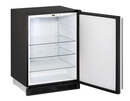 """U-Line U-1224R-00A 24"""" 1000 Series Star K, Energy Star Compact Refrigerator with 5.2 cu. ft. Capacity, Freestanding or Built In, LED Lighting, Tempered Glass Shelves and Reversible Hinges:"""