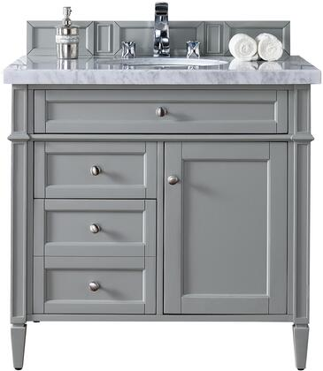 """James Martin Brittany Collection 650-V36-UGR- 36"""" Urban Gray Single Vanity with Three Drawers, One Door, Tapered Legs, Satin Nickel Hardware and"""