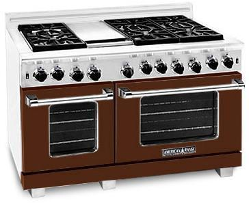 "American Range ARR486GDHB 48"" Heritage Classic Series Gas Freestanding Range with Sealed Burner Cooktop, 4.8 cu. ft. Primary Oven Capacity, in Brown"