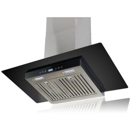 "AKDY AWR87C36 36"" Wall Mount Range Hood with 760 CFM, 55 dB, Centrifugal Motor, Innovative Touch, 1.5W LED Lighting, 3 Fan Speed, Stainless Steel Baffle Filter and X: Stainless Steel"