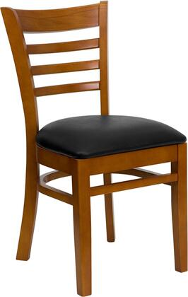 """Flash Furniture HERCULES Series XU-DGW0005LAD-CHY-XXV-GG 19.5"""" Heavy Duty Cherry Finished Ladder Back Wooden Restaurant Chair with Vinyl Seat, Commercial Design, and Plastic Floor Glides"""