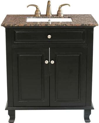 "Bellaterra Home 60321532B 32"" Single Sink Vanity with Wood Cabinet, x Stone Top, White UPC Ceramic Sink, and Soft Close Hinges in Ebony Finish"
