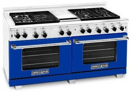 American Range ARR606GDGRLBU Heritage Classic Series Liquid Propane Freestanding Range with Sealed Burner Cooktop, 4.8 cu. ft. Primary Oven Capacity, in Sapphire Blue