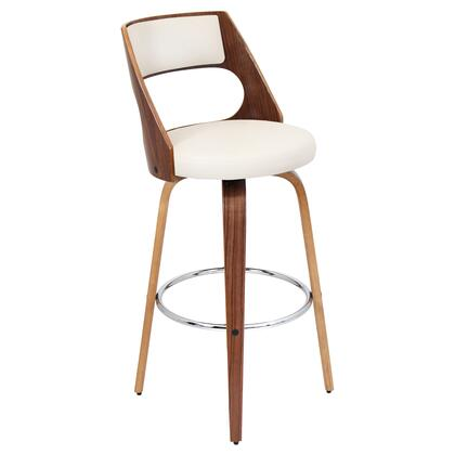 """LumiSource Cecina BS-JY-CCN 41"""" Barstool with 360-Degree Swivel, Curved Wood Frame and Chrome Footrest in"""