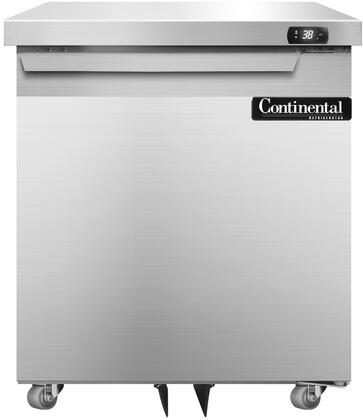 "Continental Refrigerator SW27X 27"" Undercounter Refrigerator with Aluminum Interior, Casters, 7.4 Cu. Ft. Storage Capacity, Digital Display, Electronic Controls, and R134-a Refrigerant, in Stainless Steel"