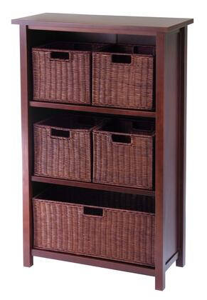 Winsome 943Mil Milan Storage Shelf or Bookcase 4-Tier- Medium in Antique Walnut