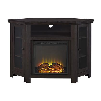 """Walker Edison W48FPCRXX 48"""" Wood Corner Fireplace Media TV Stand Console with Double Doors and Electric Fireplace in"""