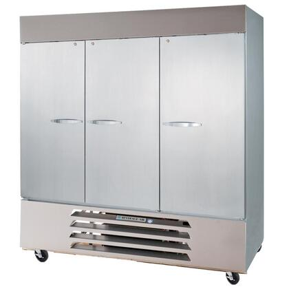"""Beverage-Air HBRF72 75"""" Horizon Series Three Section [Solid Door] Dual Temperature Reach-In Refrigerator/Freezer, 72 cu.ft. Capacity, Stainless Steel Exterior and Interior, with Bottom Mounted Compressor"""