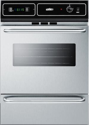 """Summit TTM721xBKW 24"""" Single Wall Oven with 2.92 cu. ft. Capacity, Digital Clock/Timer, Oven Light, Storage Compartment and Porcelain Construction, in Stainless Steel"""