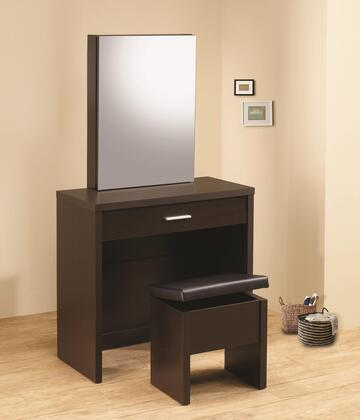 Coaster 30028x Vanity with Drawer, Hidden Mirror Storage and Lift-Top Stool
