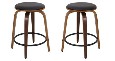 "LumiSource Porto CS-PRT Set of (2) 24"" Counter Stools with Swivel, PU Leather Upholstery and Metal Footrest in"