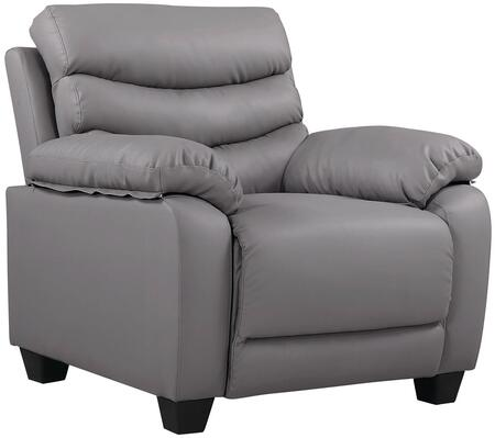 """Glory Furniture 37"""" Armchair with Removable Back, Split Back Cushion, Tapered Block Legs, Pub Back, Plush Padded Arms and Faux Leather Upholstery in"""