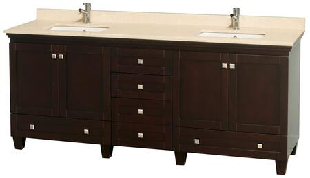 "Wyndham Collection Acclaim 80"" Double Bathroom Vanity with 4 Doors, 6 Drawers, 3"" Backsplash, Brushed Chrome Hardware, Ivory Marble Top and Solid Oak Hardwood Materials in"