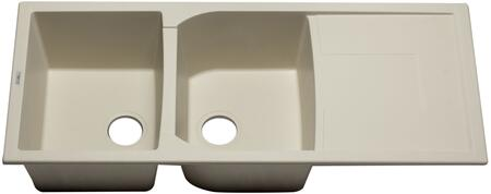"Alfi AB4620DI-XX 46"" Double Bowl Kitchen Sink with Drain board, Granite Composite and Drop-In Installation Hardware in"