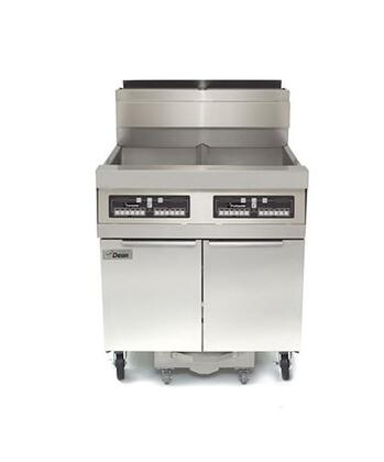 "Dean SCFD480G 88"" Decathlon Commercial Gas Fryer Battery with Built In Filtration, 100Lb Oil Capacity, 165,000 BTU, Thermatron Controller and Wide Cold Zone in Stainless Steel"