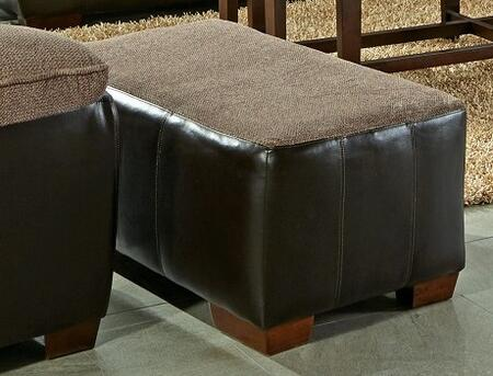 "Jackson Furniture Pinson Collection 4398-10- 43"" Ottoman with Fabric Upholstered Top, Faux Leather Upholstered Body and Block Feet in"