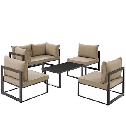 Modway Fortuna Collection 6 PC Patio Sectional Set with All-Weather Polyester Cushions, Tempered Glass Top Coffee Table and Powder Coated Aluminum Frame in