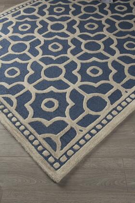 """Signature Design by Ashley Bisbee R40045 """" x """" Size Rug with Geometric Design, Hand-Tufted, 15mm Pile Height, Vacuum Regularly and Wool Backed with Cotton Material in Blue Color"""