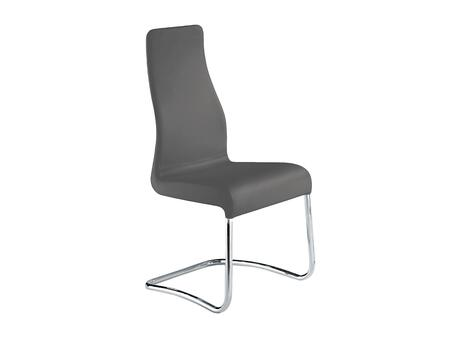 "Casabianca Florence Collection TC-2004 40"" Dining Chair with Italian Leather Upholstery, Stitched Detailing and Chrome Legs in"