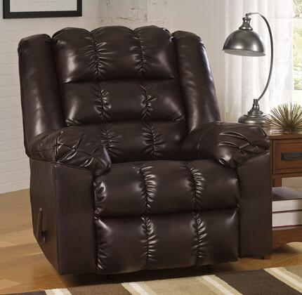 Signature Design by Ashley Hatton DuraBlend 2180X25 Rocker Recliner with Pillow Top Arms, Elaborate Stitching Details, Side Handle to Activate Recliner and Metal Construction in