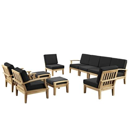 Modway EEI-1489-NAT Marina 10 Piece Outdoor Patio Teak Set with Sofa + 4 Chairs + 2 Ottomans, Natural Teak Wood, Natural Finish, Water and UV Resistant Cushions