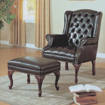Monarch I8090 Armchair Faux Leather Wood Frame Accent Chair