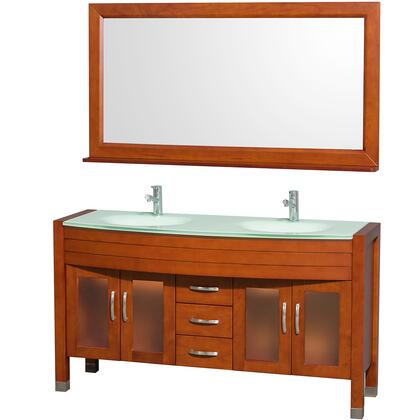 "Wyndham Collection WCV220060 Daytona 60"" Double Vanity with Mirror, Six Drawers, Two Soft Close Doors, Top and Dual Sinks"