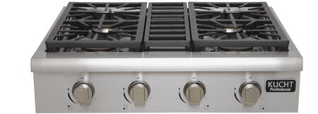 Kucht KRT3xU Professional Series Gas Rangetop with x Sealed Burners, Black Porcelain Top, Heavy Duty Cast-Iron Grates and High Quality Control Knobs, in Stainless Steel