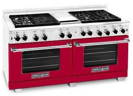 "American Range ARR6062GRLBR 60"" Heritage Classic Series Gas Freestanding Range with Sealed Burner Cooktop, 4.8 cu. ft. Primary Oven Capacity, in Red"