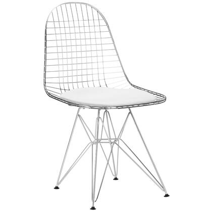 """EdgeMod Hamlet Collection 18"""" Side Chair with Solid Chrome Steel Frame, Grid Design, Geometric Styling and Leatherette Seat Pad in"""
