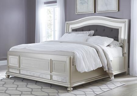 Signature Design by Ashley Coralayne B650UBED Upholstered Panel Bed with Button-Tufted Headboard, Molding Details, and Mirror Panel on Footboard