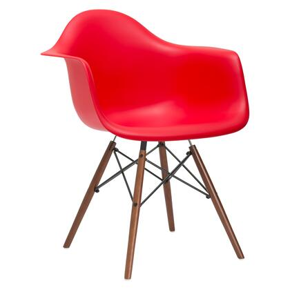 EdgeMod EM110WALRED Vortex Series Modern Wood Frame Dining Room Chair