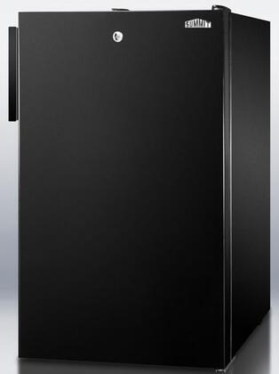 "Summit CM421BLX 20"" Medically Approved & ADA Compliant Compact Refrigerator with 4.1 cu. ft. Capacity, Manual Defrost, Door Lock and Crisper Drawer, in Black"