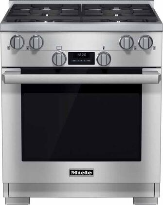 """Miele HR1124 30"""" Pro-Style Gas Range with 4.6 cu. ft. Twin Convection Fan Oven, 4 Sealed M Pro Dual Stacked Burners, TrueSimmer Burners, Self-Cleaning, and 5 Operating Modes in Stainless Steel"""