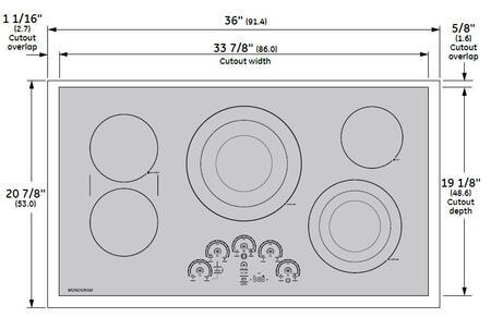 Ge Monogram Zeu36rsjss 36 Inch Black Electric Cooktop